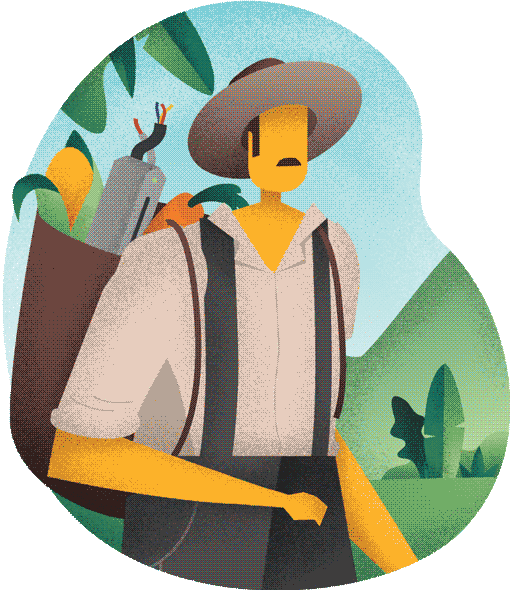 Farmer carrying veggies and a server